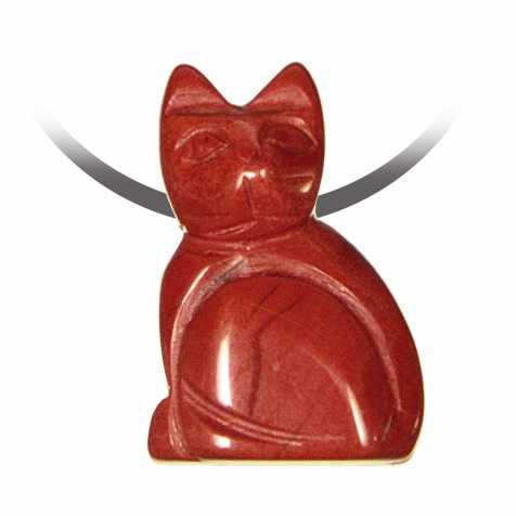 Pendentif pierre percée chat en jaspe rouge