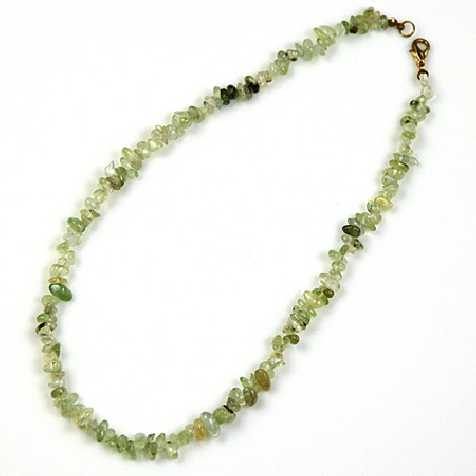 Collier de pierre en préhnite épidote - perles baroques - 45 cm