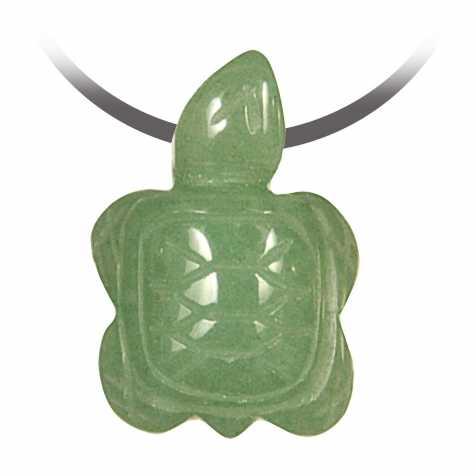 Pendentif pierre percée tortue en aventurine verte
