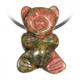 Pendentif pierre percée ourson en unakite