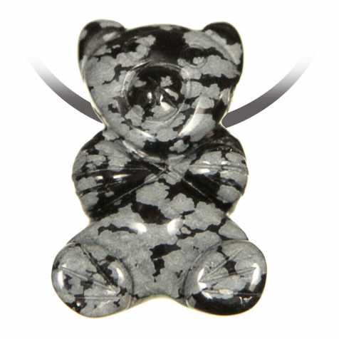 Pendentif pierre percée ourson en obsidienne neige