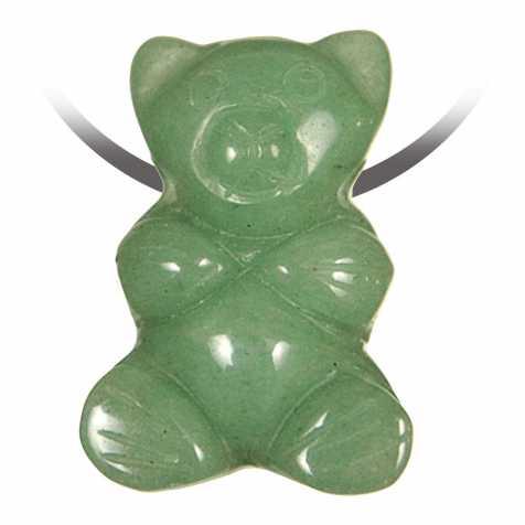Pendentif pierre percée ourson en aventurine verte