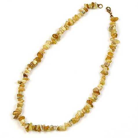 Collier de pierre en opale jaune - perles baroques - 45 cm