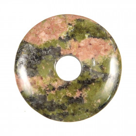 Donut Pi Chinois en unakite pour pendentif