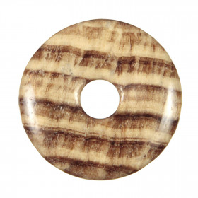 Donut Pi Chinois en aragonite marron pour pendentif