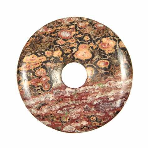 Donut Pi Chinois en jaspe léopard pour pendentif