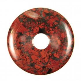 Donut Pi Chinois en jaspe breschia pour pendentif