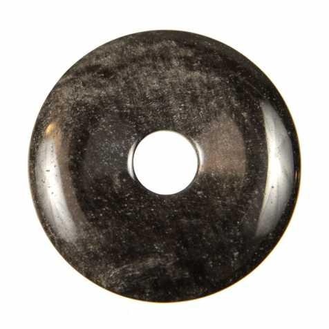 Donut Pi Chinois en obsidienne argentée pour pendentif