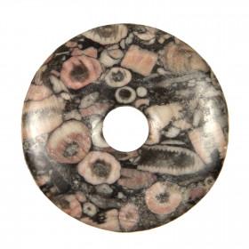 Donut Pi Chinois en crinoïde fossilisée pour pendentif