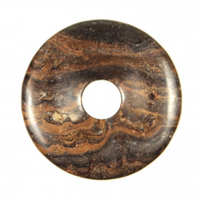 Donut Pi Chinois en stromatolithe pour pendentif