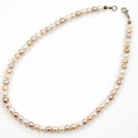 Collier en perles de culture - perles rondes 7 mm - 45 cm