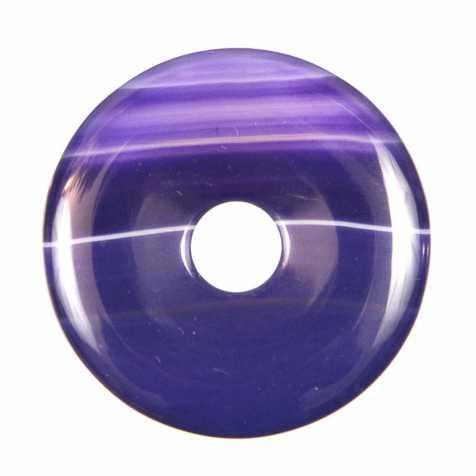 Donut Pi Chinois en agate colorée lilas pour pendentif