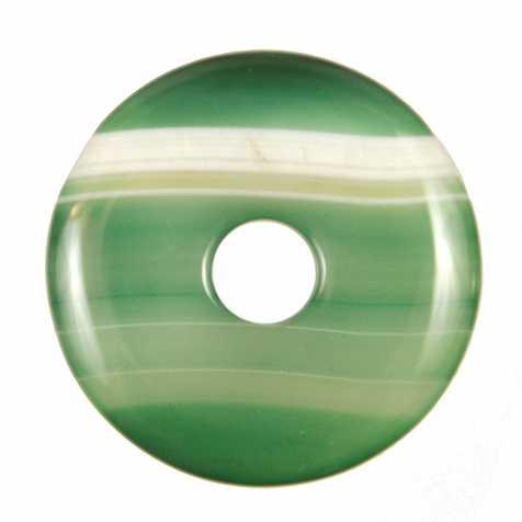 Donut Pi Chinois en agate colorée verte pour pendentif