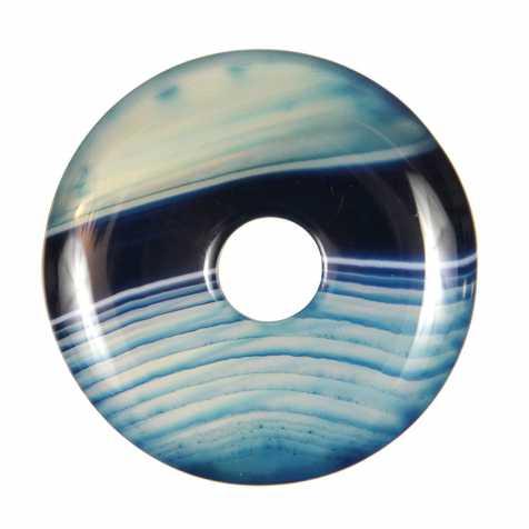 Donut Pi Chinois en agate colorée bleue pour pendentif