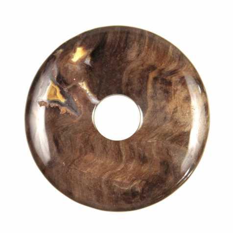 Donut Pi Chinois en bois fossilisé pour pendentif