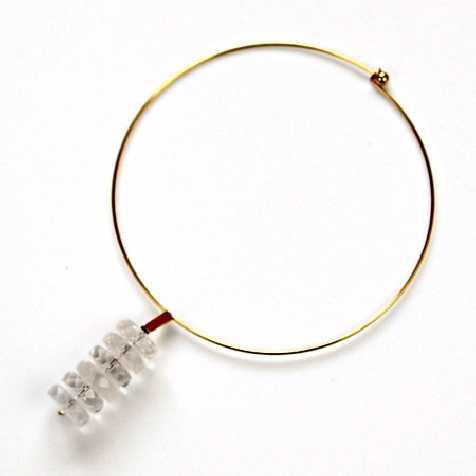 Collier cerceau et pendentif en perles de cristal facetées