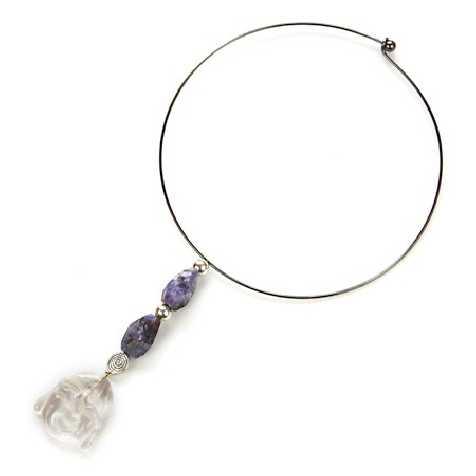 Collier cerceau pendentif améthyste et bouddha en cristal