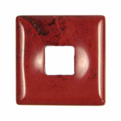 Donut carré en jaspe rouge pour pendentif