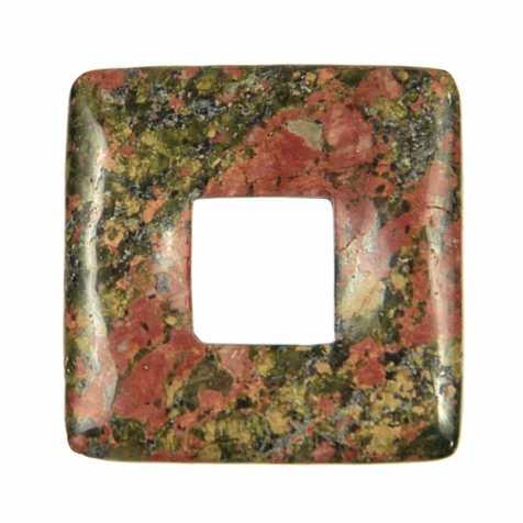 Donut carré en unakite pour pendentif