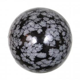 Sphère en obsidienne neige