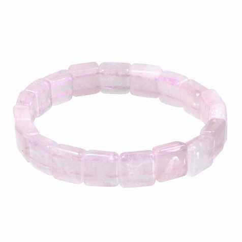 Bracelet perles carrées en quartz rose