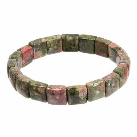 Bracelet perles carrées en unakite