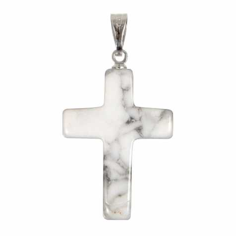 Pendentif croix crucifix en howlite