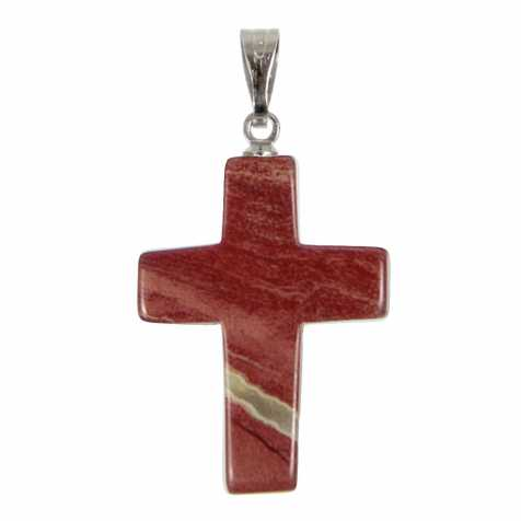 Pendentif croix crucifix en jaspe rouge
