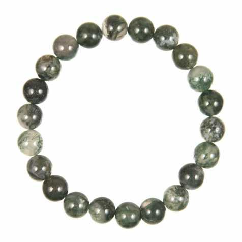 Bracelet en agate mousse - perles rondes