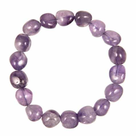 Bracelet en améthyste - Perles pierres roulées