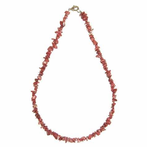 Collier en jaspe rouge- 45 cm - Perles baroques