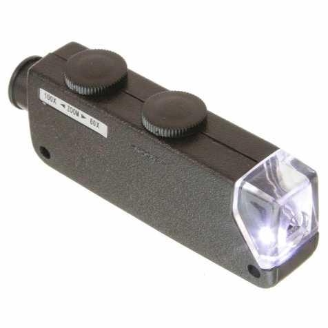 Microscope de poche à led - Zoom x60 à x100