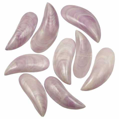 Coquillages perna viridis mauve nacré entier poli - 8 à 10 cm - Lot de 4