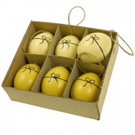 Boite de 6 oeufs de poule décoratifs avec noeud peint à suspendre