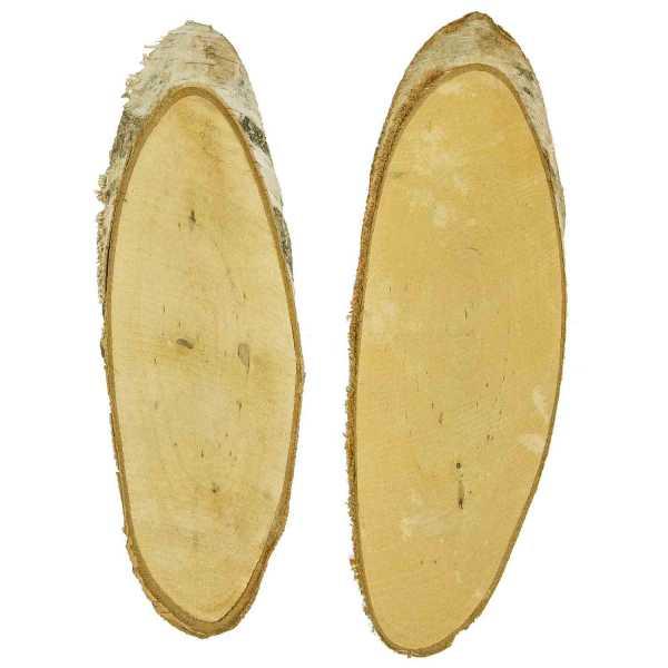 tranches ovales biseaut es de bois de bouleau brut lot de 2 naturosph re. Black Bedroom Furniture Sets. Home Design Ideas