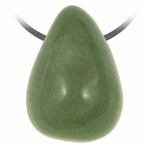 Pendentif pierre roulée percée en aventurine verte