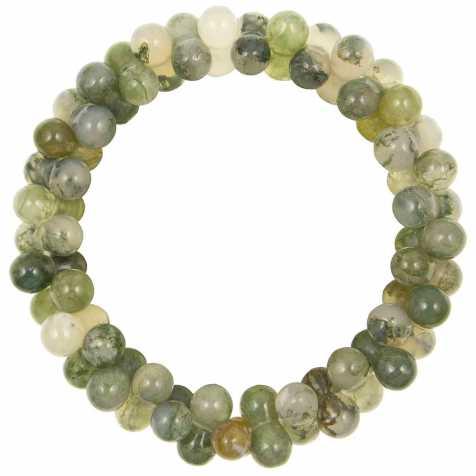 Bracelet petites perles en agate mousse