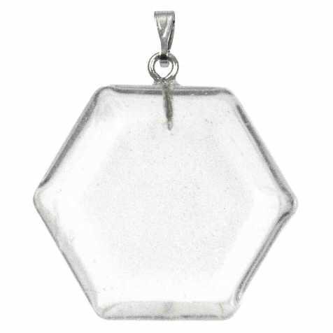 Pendentif hexagone en cristal de roche