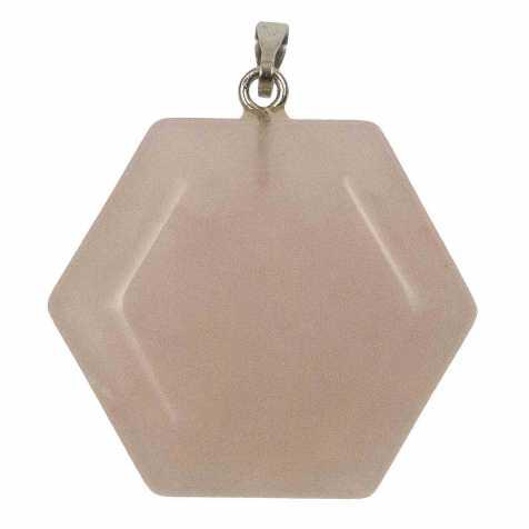 Pendentif hexagone en quartz rose