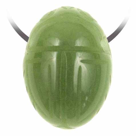 Pendentif pierre percée scarabée en aventurine verte