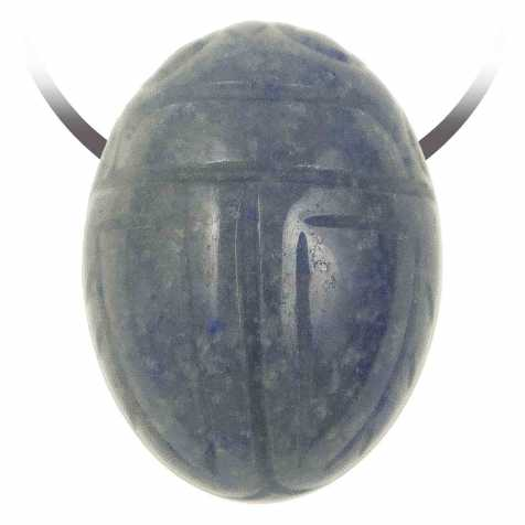 Pendentif pierre percée scarabée en quartz bleu