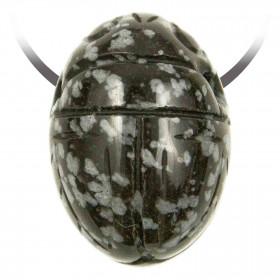Pendentif pierre percée scarabée en obsidienne neige