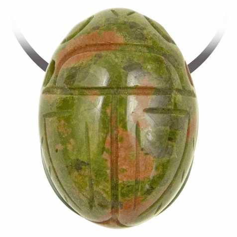 Pendentif pierre percée scarabée en unakite