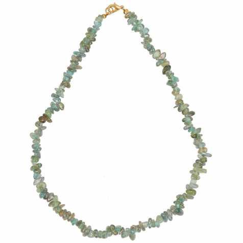 Collier de pierre en cyanite verte - perles baroques - 45 cm