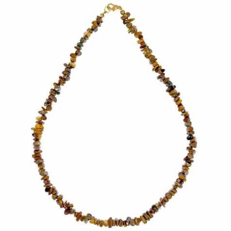 Collier de pierre en oeil de tigre - perles baroques - 45 cm