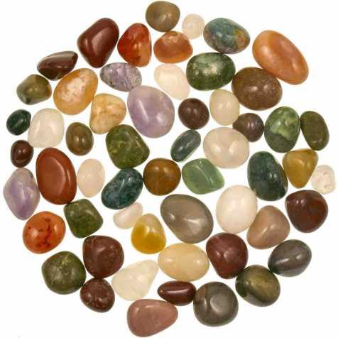 Lot de pierres roulées avec pochette offerte - Mélange Inde - 1 à 2.5 cm - 800 g