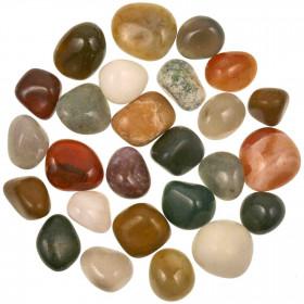 Lot de pierres roulées avec pochette offerte - Mélange Inde - 2 à 3.5 cm - 800 g