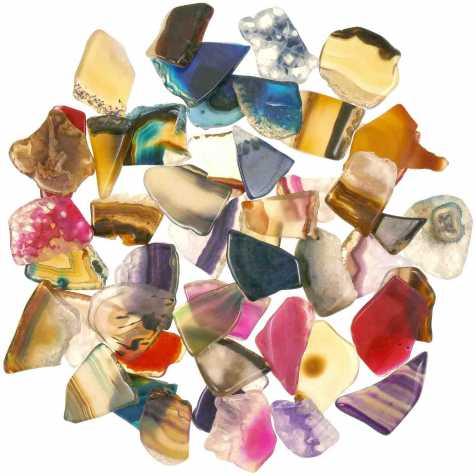 Fragments polis d'agate colorée - 100 grammes