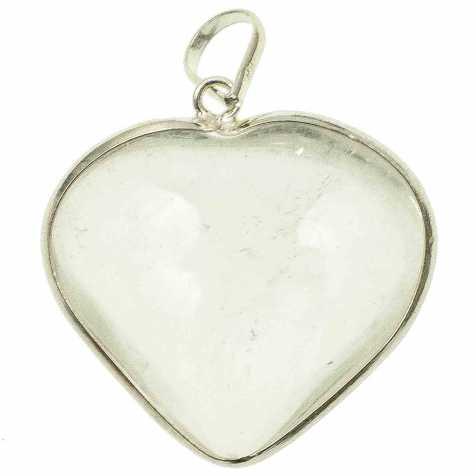 Pendentif coeur en cristal de roche monture en argent 925