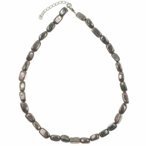 Collier en grenat almandin - Perles pierres roulées (forme carrée)
